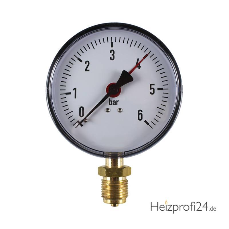 """Manometer Anschluss unten Klasse 2,5 1/2"""" ø100mm 0 - 10 bar"""