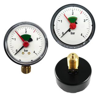 """Manometer 3/8"""" für geschlossene Anlagen, ABS-Gehäuse, rote Marke 2,5 bar"""