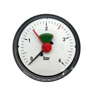 """Manometer 3/8"""" für geschlossene Anlagen, ABS-Gehäuse, rote Marke 2,5 bar 3/8"""" waagerecht (hinten)"""