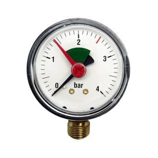 """Manometer 3/8"""" für geschlossene Anlagen, ABS-Gehäuse, rote Marke 2,5 bar 3/8"""" senkrecht, radial (unten)"""