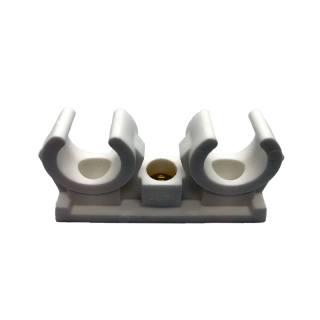 Rohrclip 20 / 22 mm Kunststoff doppelt, mit Gewindehülse M 6