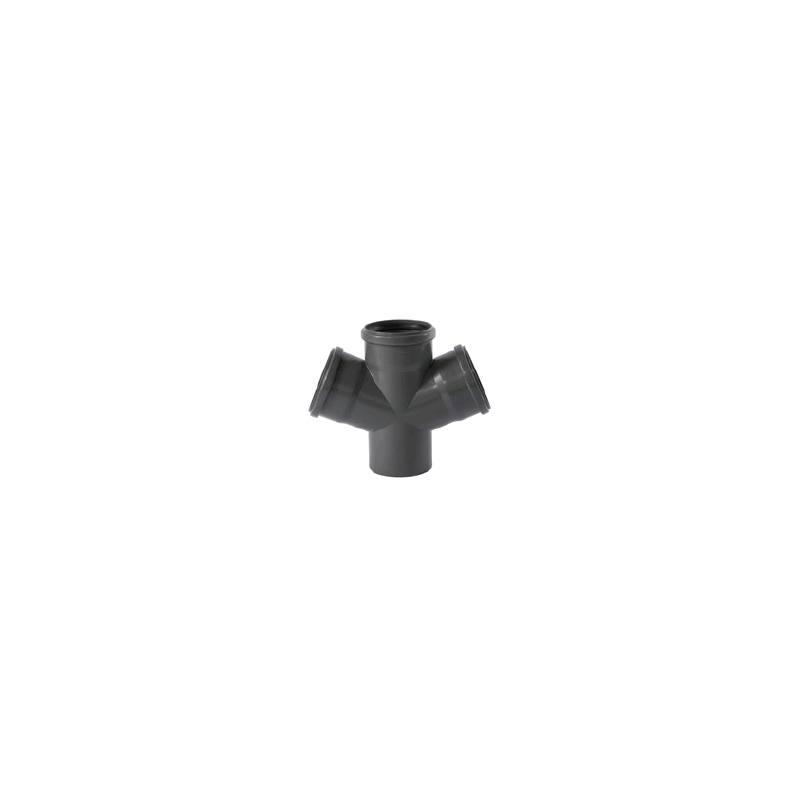 50  67° 100 HT Rohr Doppel-Eck-Abzweig DN 100
